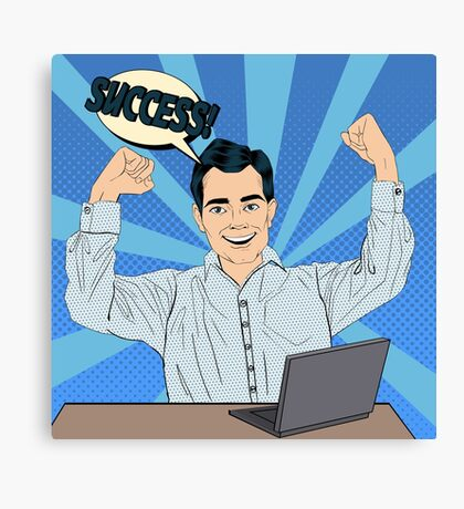 Successful Businessman at Work with Laptop. Vector illustration in Pop Art Style Canvas Print