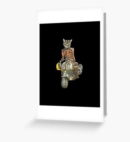 Vintage Motorcycle Cat with Goggles Greeting Card