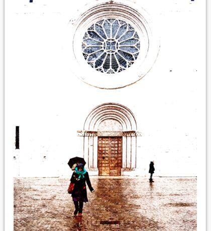 Woman with umbrella in front of the cathedral Sticker