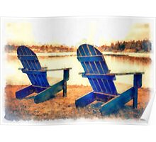 Adirondack Chairs by the Lake Poster
