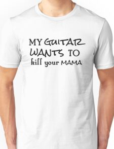 rock n roll guitarist guitar cool typography rocker hippie t shirts Unisex T-Shirt