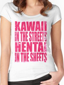 Kawaii in the Streets... (PINK) Women's Fitted Scoop T-Shirt