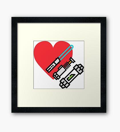 Love lightsaber Framed Print