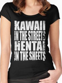Kawaii in the Streets... (WHITE) Women's Fitted Scoop T-Shirt
