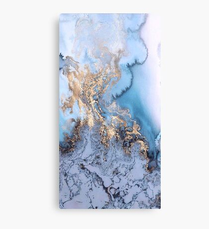 blue gold marble Canvas Print
