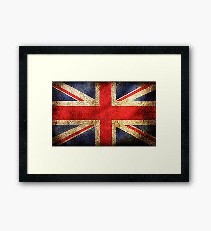Union Jack Flag Distressed Style Framed Print