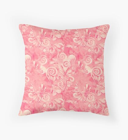 Cute watercolor pink hearts pattern Throw Pillow