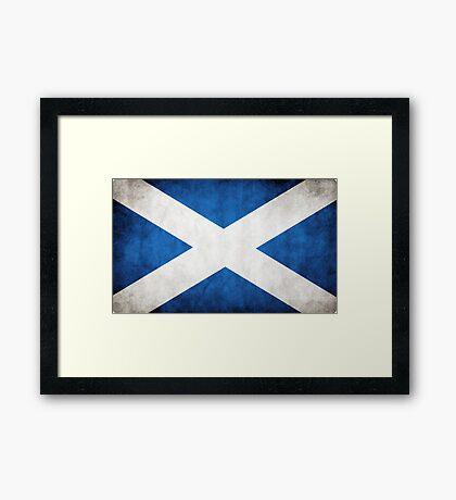Scotland Scottish Flag Distressed Style Framed Print