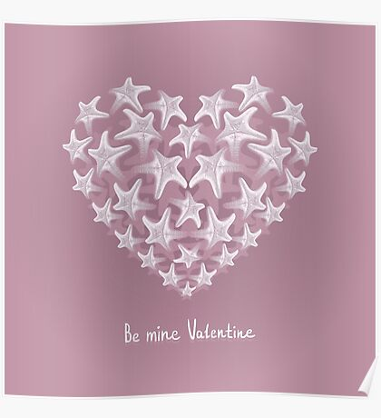 Postcard with heart of starfishes. Poster