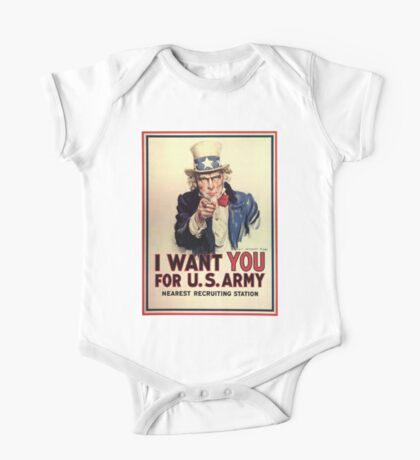 UNCLE SAM, America, American, I Want You! Uncle Sam Wants You, USA, War, Recruitment Poster One Piece - Short Sleeve
