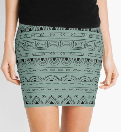 dark aztec tribal pattern  Mini Skirt