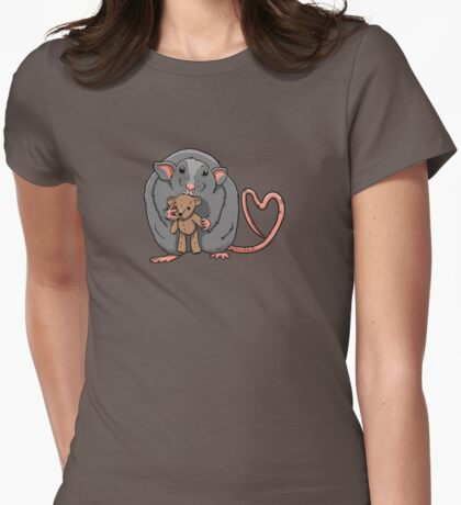 Rat with little bear Womens Fitted T-Shirt
