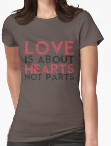 Love Hearts, Not Parts Womens Fitted T-Shirt