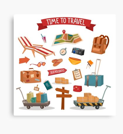 Time to Travel. Set of Holidays Summertime Elements with Baggage, Swimming Accessories and Map Canvas Print