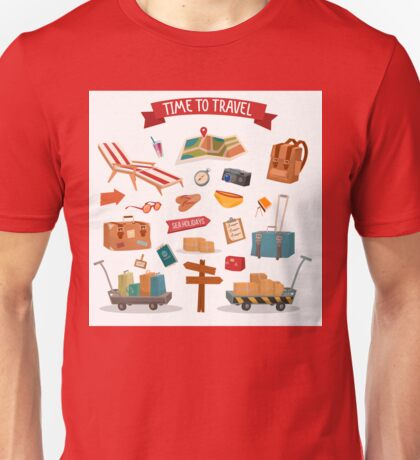Time to Travel. Set of Holidays Summertime Elements with Baggage, Swimming Accessories and Map Unisex T-Shirt
