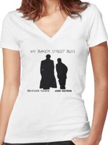 Sherlock Baker Street Boys T-Shirt Women's Fitted V-Neck T-Shirt