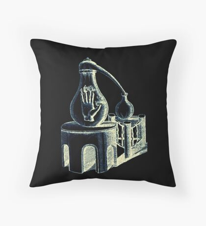 The Philosopher's hand in glass (black) Throw Pillow