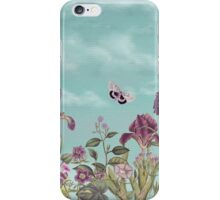 Mauve flowers on turquoise sky background iPhone Case/Skin