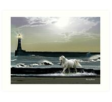 By the Light of the Silvery Moon - Roker Pier & Lighthouse Art Print