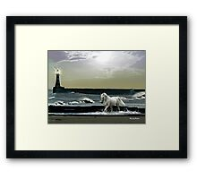 By the Light of the Silvery Moon - Roker Pier & Lighthouse Framed Print