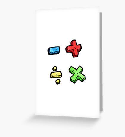 cartoon math symbols Greeting Card