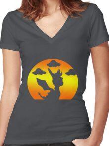 Sunset Spyro Women's Fitted V-Neck T-Shirt