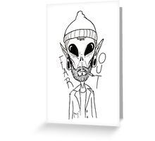 Hipster Alien Far Out Black and White Greeting Card
