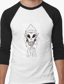 Hipster Alien Far Out Black and White Men's Baseball ¾ T-Shirt