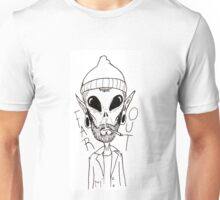 Hipster Alien Far Out Black and White Unisex T-Shirt