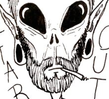 Hipster Alien Far Out Black and White Sticker