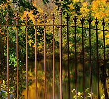 Autumn Reflections Through the Fence by Gilda Axelrod