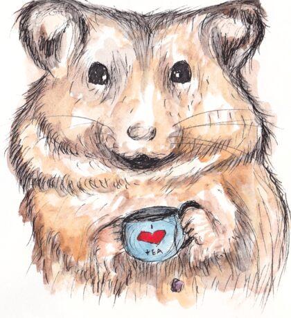 I Love Tea Hamster Sticker