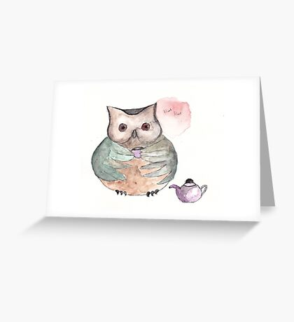 Time For Tea Owl Greeting Card