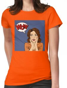 Surprised Woman with Bubble and Expression Wow in Comics Style Womens Fitted T-Shirt