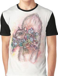 Squirrel Flower Bouquet Graphic T-Shirt