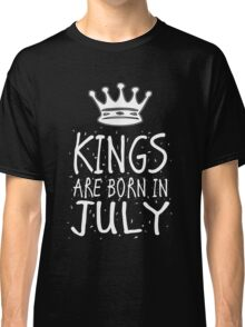 Kings Are Born In July Birthday Gift Shirt Christmas Cute Funny Cancer Leo Zodiac Classic T-Shirt