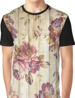 Vintage Roses Floral on Wood Graphic T-Shirt