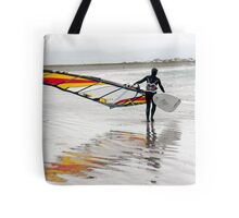 lone Atlantic windsurfer getting ready to surf Tote Bag