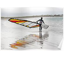 lone Atlantic windsurfer getting ready to surf Poster