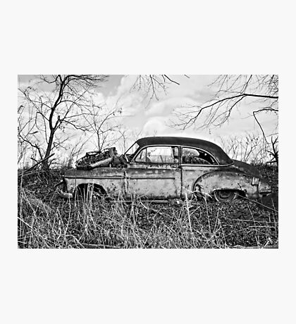 Rusty Jalopy BNW Photographic Print