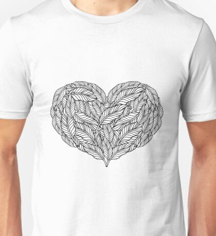 Bohemian Love . Heart made of feathers. Unisex T-Shirt