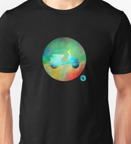 Vespa PX125 - Colour on Black Unisex T-Shirt