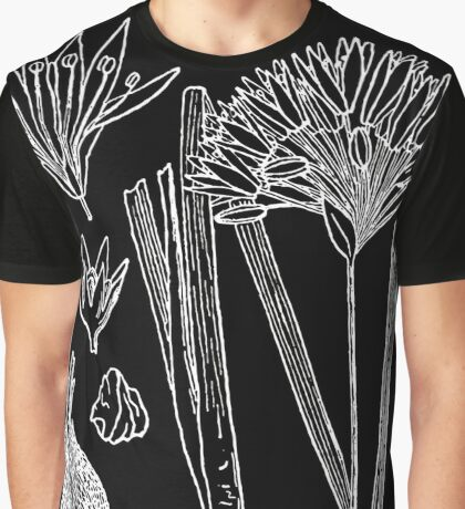 Britton And Brown Illustrated flora of the northern states and Canada 0104 Allium canadense mobilense drawing Graphic T-Shirt