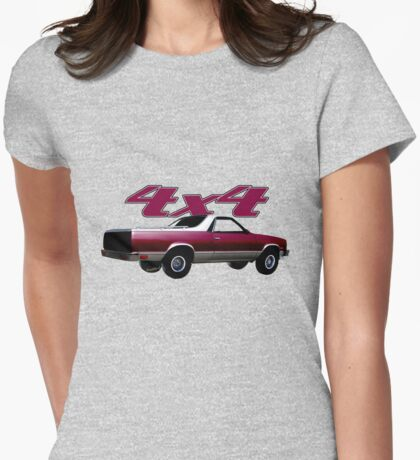 1987 El Camino 4x4 Beyond the Four Wheel-Drive Sign Womens Fitted T-Shirt