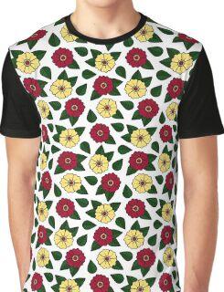 Vintage Retro Flower Pattern White Graphic T-Shirt