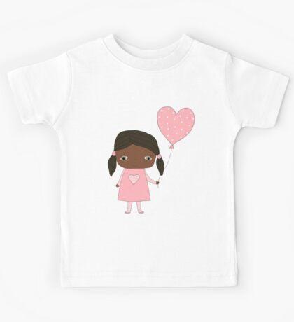 Kawaii girl in pink colors with heart balloon Kids Tee