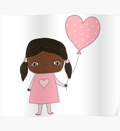 Kawaii girl in pink colors with heart balloon Poster