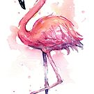 Pink Flamingo Watercolor Tropical Bird by Olga Shvartsur
