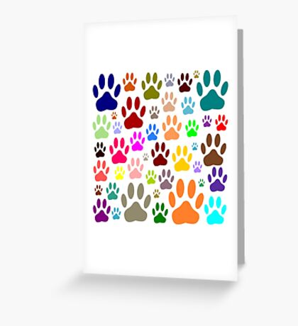 Dog Paw Prints All Over Greeting Card