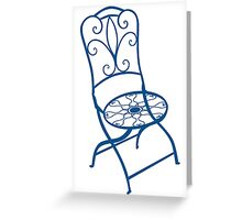 BISTRO FOLDING CHAIR - BLUE Greeting Card
